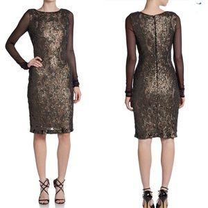 Vera wang mesh-sleeve sequins bronze dress…